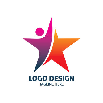 red purple people star logo design