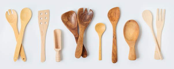 Wooden kitchen utensils collection on white background. Cooking or baking mock up for design. Fototapete