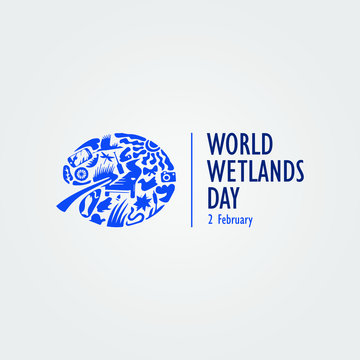 world wetlands day sign, logo or symbol. vector illustration.