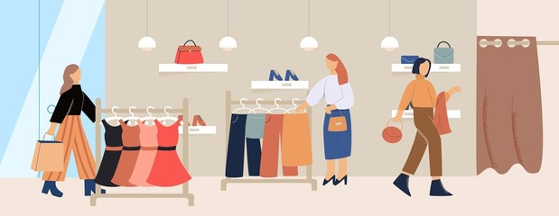 Cartoon female customer inside trendy clothes store vector flat illustration. Fashion girl character enjoying shopping at boutique. Shopaholic people buying clothing Wall mural