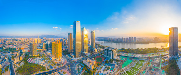 city scenery on the North Bank of Min River, Fuzhou City, Fujian Province, China Fototapete