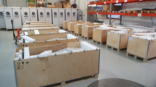 Special air filters are stored before shipment to Wuhan hospitals in China, at the Genano factory in Espoo