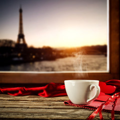 Wall Mural - Valentine's Day coffee on window sill and city landscape of Paris .