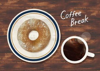 ドーナツとコーヒー水彩