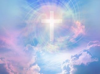 The Power and the Glory for Ever and Ever Amen - beautiful surreal heavenly cloud scene with a white cross and rainbow coloured vortex  providing a religious meditation background