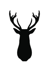 Vector black geometric deer head animal silhouette stencil drawing.Stag head and antlers isolated on white background.