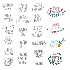 Happy Easter Collection With Lettering Phrases.