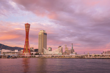 Fototapete - Beautiful of the Kobe Port Tower, landmark and popular for tourists attractions in the Central district. Kobe, Hyogo Prefecture, Japan, 24 November 2019