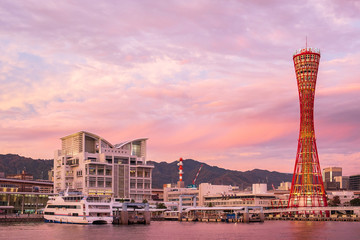 Fotobehang - Beautiful of the Kobe Port Tower, landmark and popular for tourists attractions in the Central district. Kobe, Hyogo Prefecture, Japan, 24 November 2019
