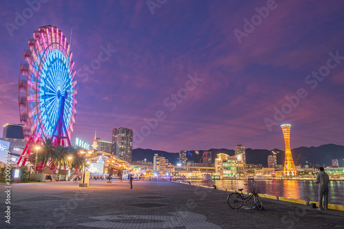 Fototapete Beautiful of the Kobe Port Tower, landmark and popular for tourists attractions in the Central district. Kobe, Hyogo Prefecture, Japan, 24 November 2019