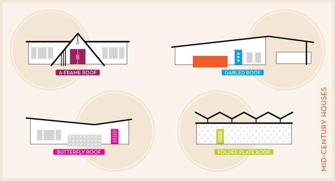 Mid-Century Modern Homes | MCM House Icon Set | 1960s Rooflines | Modernism Design | Retro Vector Illustration