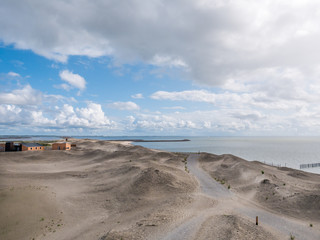 Panorama of beach of artificial island Marker Wadden and Markermeer lake, Netherlands