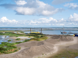 Panorama of marshland and harbour of artificial island Marker Wadden in Markermeer, Netherlands