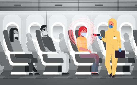 doctor in hazmat suit checking airplane passengers for epidemic MERS-CoV virus symptoms wuhan coronavirus 2019-nCoV pandemic medical health risk concept plane interior horizontal vector illustration