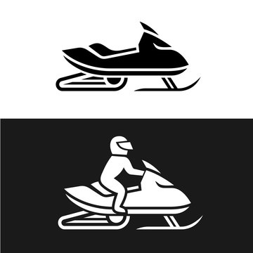 Snowmobile with man driving and no man sign. Side view snow mobile solid logo.
