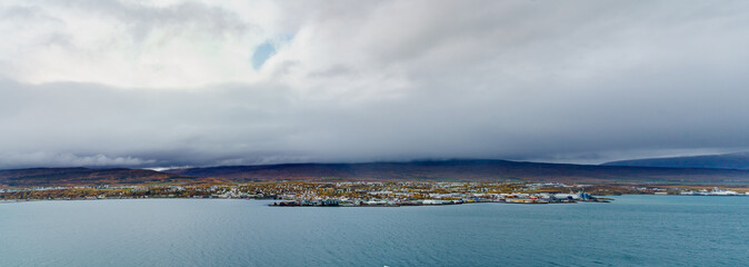 Panorama View of Akureyri City on a gloomy day -- Akureyri , Iceland