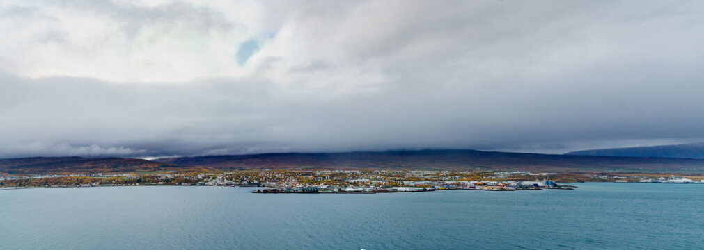 Panorama View of Akureyri City on a gloomy day -- Akureyri , Iceland