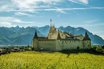 Photo sur Aluminium Aigle Castle Aigle in city of Aigle in canton of Vaud, Switzerland