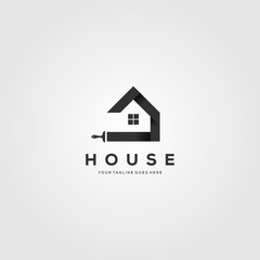 paint house brushes logo creative clever vector illustration