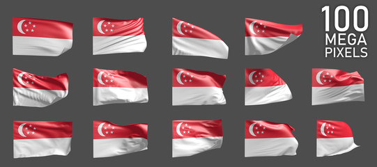 Singapore flag isolated - various images of the waving flag on grey background - object 3D illustration