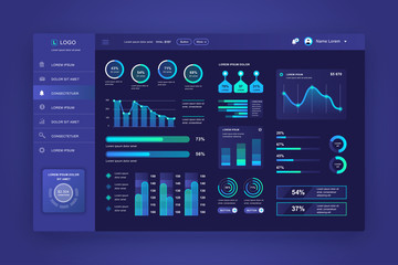 Dashboard UI. Admin panel vector design template with infographic elements, HUD diagram, info graphics. Website dashboard for UI and UX design web page. Dark style. Vector illustration.