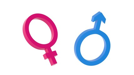 Gender symbols isolated on white background. 3D-rendering.