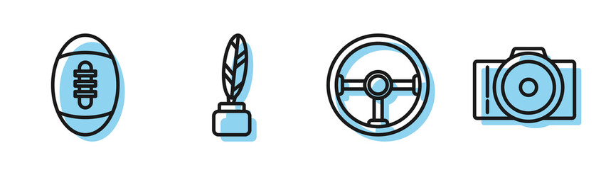 Set line Steering wheel, American Football ball, Feather and inkwell and Photo camera icon. Vector