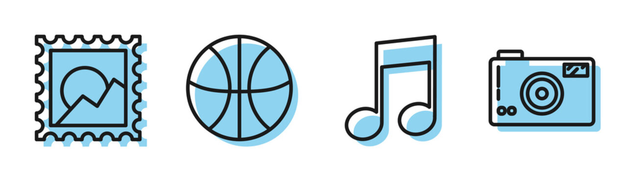 Set line Music note, tone, Picture landscape, Basketball ball and Photo camera icon. Vector