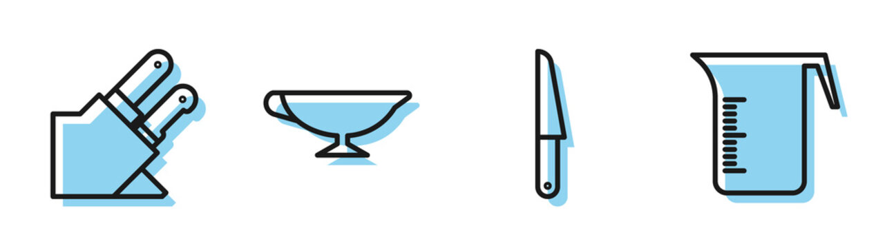 Set line Knife, Knife, Sauce boat and Measuring cup icon. Vector