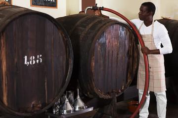 male winemaker working in wine-vault