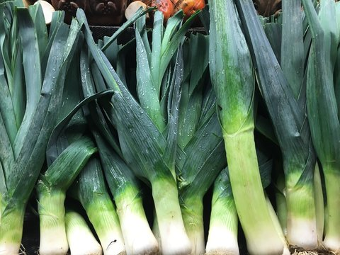Close-Up Of Wet Leeks For Sale In Market