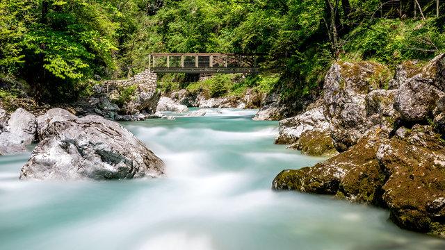 Long exposure photo of Tolminka river in Triglav National Park, Slovenia