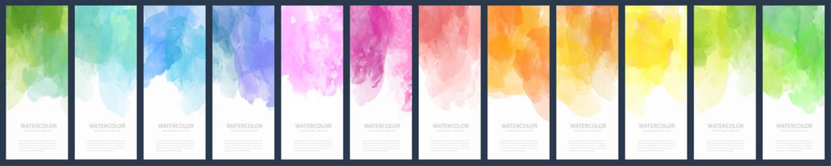 Fotobehang - Big bundle set of light colorful vector watercolor vertical backgrounds for poster, banner or flyer