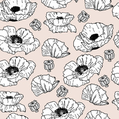 Poppies seamless pattern. Sketch style. Hand drawn poppies on gentle beige background. Black lines.