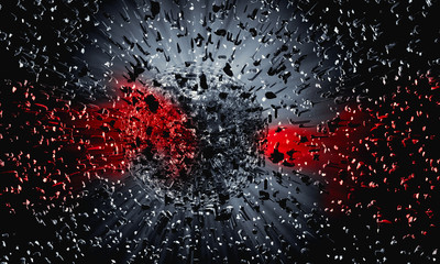 3D rendering of red-black abstract technology digital hi tech background Fotoväggar