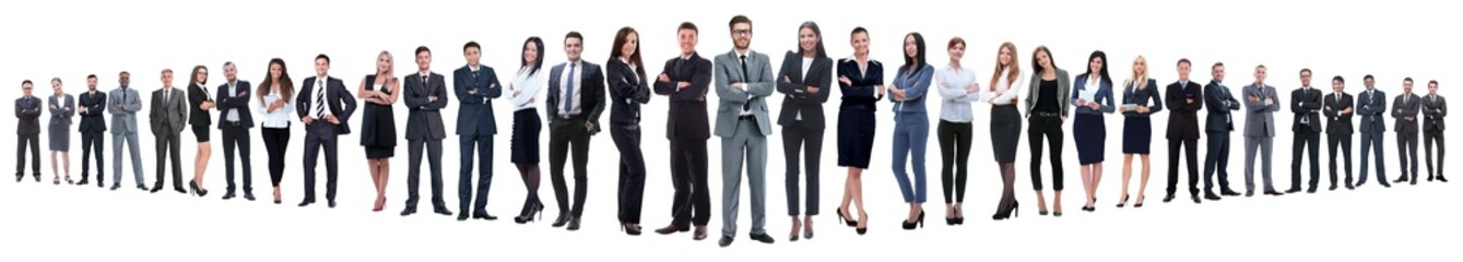 panoramic photo of a group of confident business people.