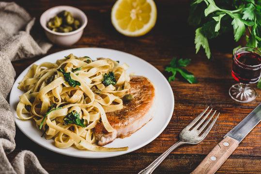Pork chop steak with pasta