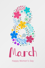 Banner for International Women's Day. Flyer for March 8 with flower decor