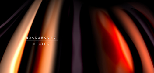 Zelfklevend Fotobehang Licht, schaduw Abstract silk smooth lines on black, multicolored liquid fluid rainbow style waves on black