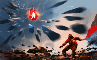Digital illustration painting design style a man flying is in energy ball and attacking by rock to a man on the ground, against Earthquake.