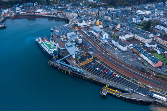 Aerial View Over Oban Town in Scotland