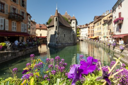 Beautiful shot of palais de I'isle history museum in annecy france