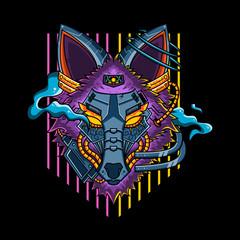 Robotic wolf vector illustration