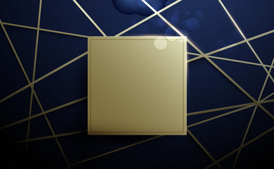Gold lines and square space. Abstract luxury pattern background