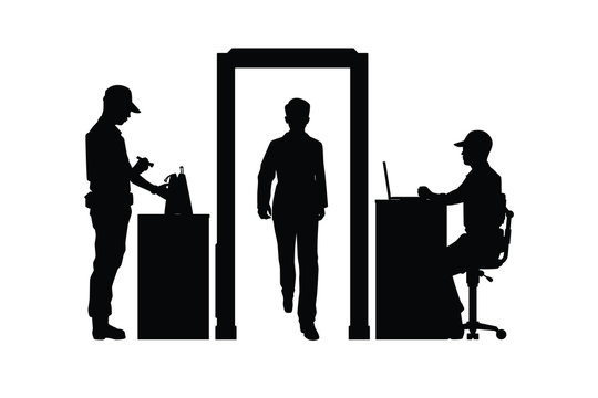 Security check businessman silhouette vector