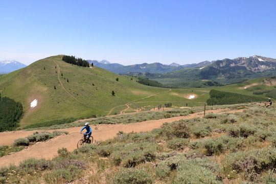 A mountain biker at Deer Valley resort in Park City, Utah