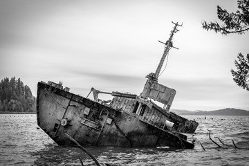 Fotobehang Schipbreuk Shipwrecked fishing boat off the oregon coast in black and white