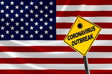 Coronavirus Outbreak Warning Sign With USA Flag