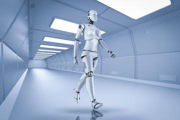Female cyborg or robot walk