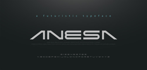 Abstract technology space font and alphabet. techno and fashion fonts designs. Typography digital sci-fi movie concept. vector illustration Wall mural